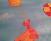 "When Elephants Fly Original acrylic painting elephant hot air balloon 24""x48"""