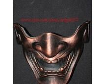 Half cover Hannya Kabuki mask, Airsoft mask, Halloween costume & Cosplay mask, Halloween mask, Steampunk mask, Wall mask, Samurai MA129 et