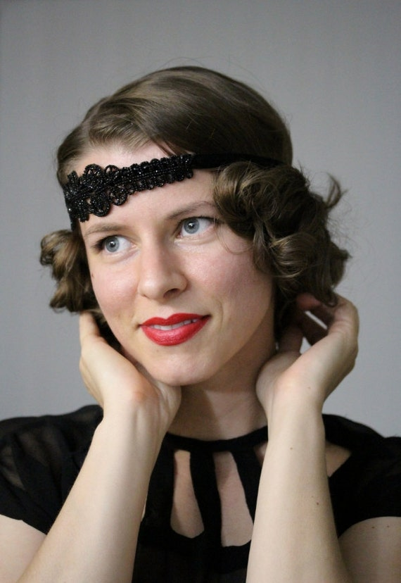 Black Headband Flapper 1920s Style Hair Accessory Art Deco