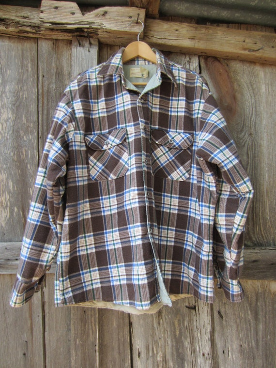 70s Plaid Flannel Utility Jacket by Sears Fieldmaster, M-L-XL // Lined Chore Jacket // Insulated Shirt