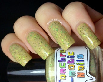 CLEARANCE The Sea of Grass Nail Polish - very dusty light green with earth-tone glitter