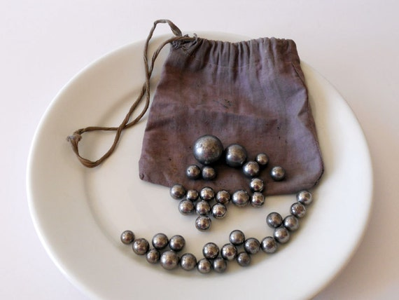 Vintage Steely Marble Set With Original Bag Steel Marbles