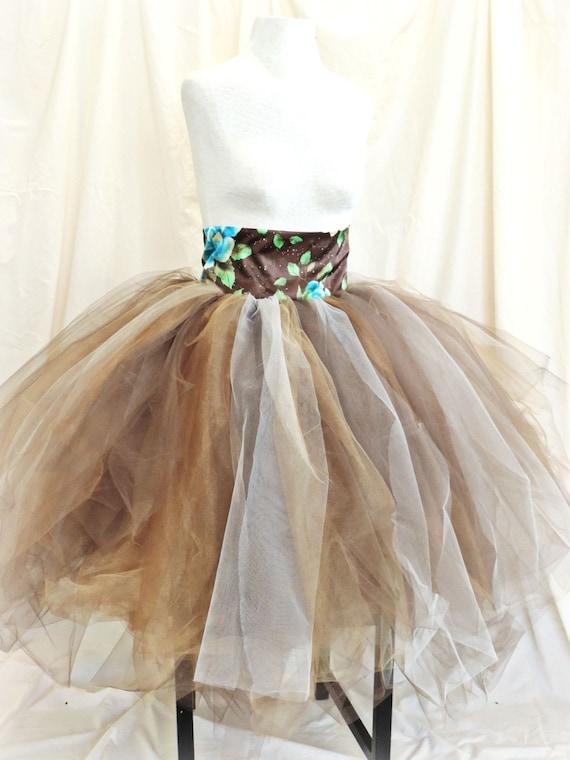 sale tutu high waisted skirt tea length tutu brown