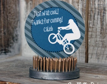 DIY Printable Boy's Motor Cross  BMX Bike Birthday Favor Goody Bag Tags Labels