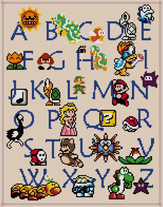 Mario abc sampler cross stitch pattern pdf