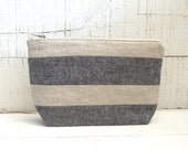 Striped Linen Cosmetic Pouch-- Black / Grey and Natural - CarolineHanna