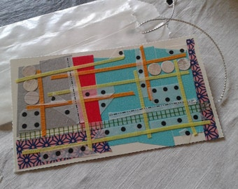 gees bend quilt inspired gift tag washi tape quilter card trading card ACEO ATC original modern abstract Father's day paper collage quilt