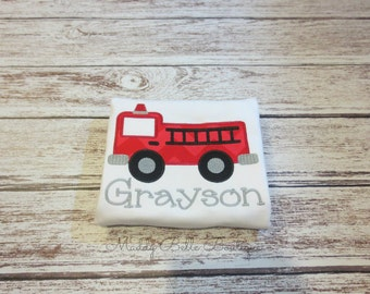 Fire Truck Personalized Embroidered Shirt - Boys Shirt, Applique Shirt, Personalized, Fire Truck Shirt