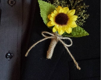 Wedding Boutonniere (Boutineer) - Rustic Sunflower with Mixed Greenery and Burlap Twine
