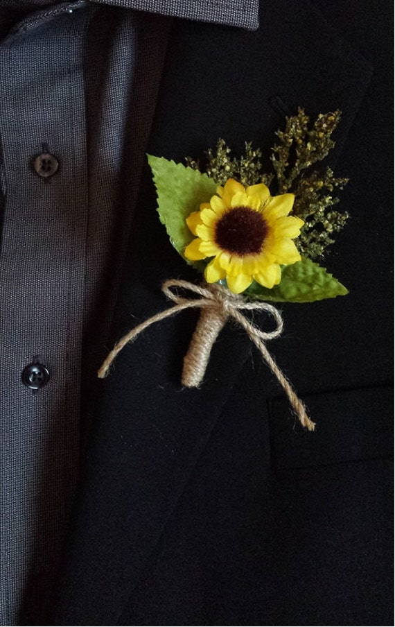 Wedding Boutonniere Boutineer Rustic Sunflower With Mixed