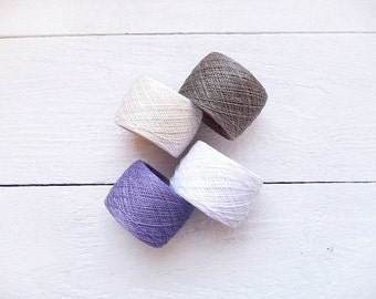 Linen Yarn, natural linen yarn  thread, natural linen, purple, lavender, snow white