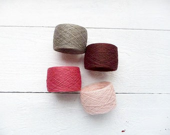 Laceweight  Linen Yarn brown pink grey - fall autumn collection