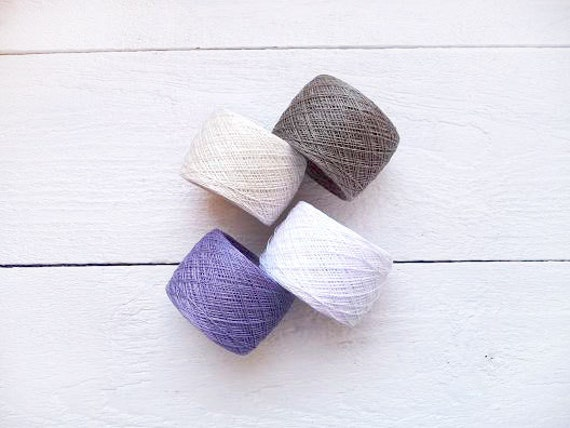 Linen Yarn, natural linen yarn  thread, natural linen, purple, lavender, snow white