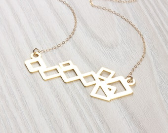Long Statement necklace / Square statement necklace / Bib necklace / Gold square necklace / Geometric jewelry / Bridesmaid necklace | Oenone