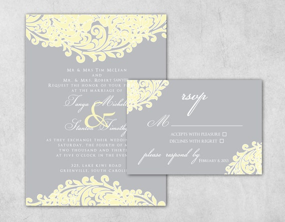 Yellow Grey Wedding Invitations: Yellow And Grey Custom Wedding Invitation Set Including