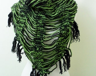 Green Black Knitted Fringe Triangle Scarf  Cowl Shawl, Scarves, Wool Scarf, Handmade, Winter Fashion