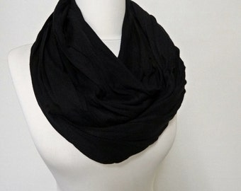 Black Ruffle Infinity Scarf, Jersey Infinity Scarves, Double Layer, Loop Scarf, Circle Scarf, Winter Fashion, Warm Scarf