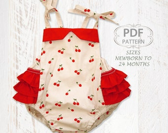PDF Sewing pattern for romper sunsuit, Baby sewing pattern for baby girls toddler, Infant Newborn, ruffle romper, diaper cover, ISABELLA