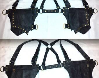 """Leather Utility Holster - Black or Brown - Shoulder Crossback Bag Pouch """"Leaf"""" Design"""
