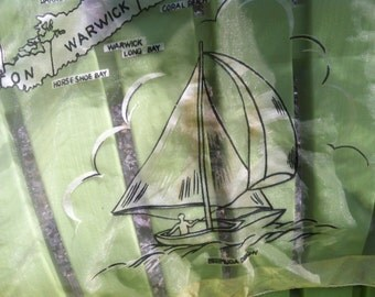Bernuda Island Souvenir Scarf with Island and Nautical Theme