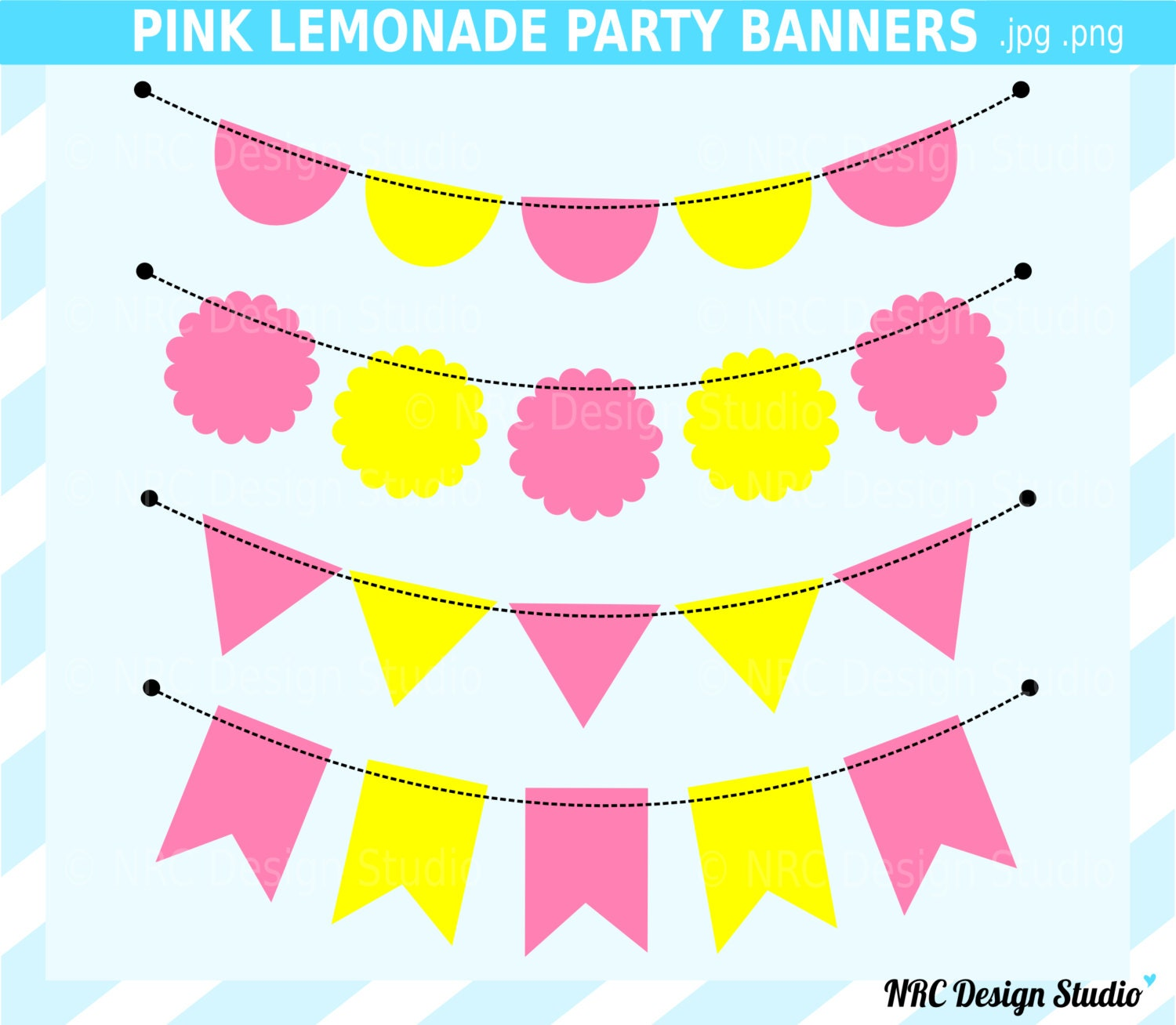 Clipart Pink Lemonade Banner flags clip art pink lemonade banner by ...