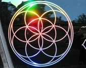 """LARGE Seed of Life Sticker- Prismatic Rainbow Silver or Gold- 11.75"""" Size"""