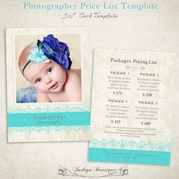 Photography Price List Template - Free pricing template for photographers