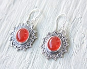 Lace Carnelian Earrings Sterling Silver Handcrafted Silversmith Metalsmithed Gemstone - ManariDesign