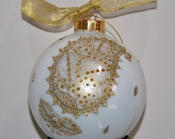 Golden Paisley Hand Painted white Ornament