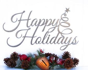 Happy Holidays Christmas Metal Sign - Silver, 16.5x9.5, Metal Wall Art, Holiday Decorations, Christmas Gifts, Christmas