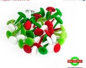 CIJ SALE -- Velvet  Brads - Red, White and Green - 40 pieces - for Cards, Tags, Layouts, & more - MindtheWrap