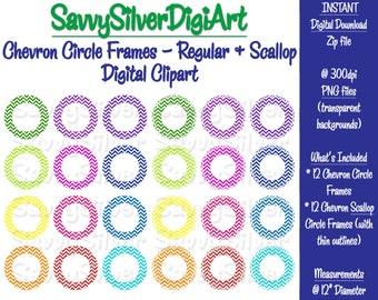 Chevron Circle Clipart - Scallop Circle Frame Clip Art, Instant Download, Rainbow Printable Circles, Scrapbook Labels Photos