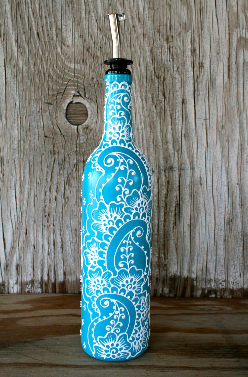 Hand painted wine bottle olive oil pourer turquoise and for Hand painted glass bottles