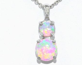 Pink Opal & Diamond Round Double Pendant .925 Sterling Silver Rhodium Finish