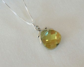 Swarovski Green Necklace - Green Bridesmaid Necklace - Crystal Necklace