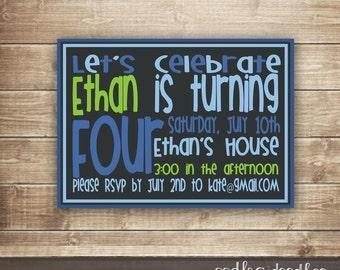 Typography Birthday Invitation, Modern Birthday Invitation, Blue and Lime Green, Printable Digital File or Printed Invitations