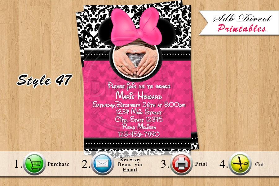 minnie mouse baby shower invitation minnie by yellowfieldsdesigns
