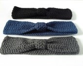 Ladies Crochet Headband. Your Choice of Colour: Navy, Black or Grey. Ladies Ear Cosy, Handmade Winter Hair Band, Dark Colours