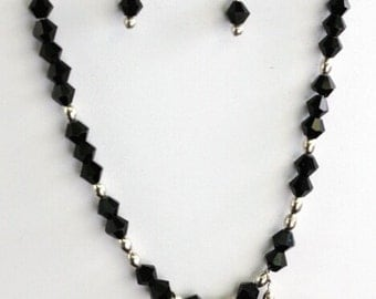 SALE....Sterling Silver, Faceted Black Onyx and Black Swarovski Crystal Necklace