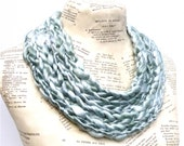 Jade Scarf Celadon Seafoam Mint Green Bamboo SIlk Chunky Crocheted Art Yarn Holiday Gift for Her