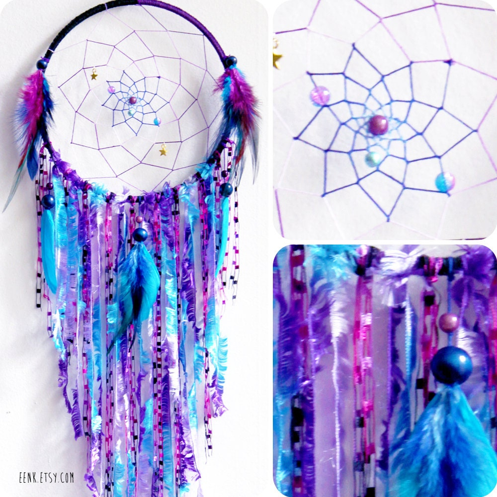 Cosmic galaxy native style large woven dream catcher for How to tie a dreamcatcher web