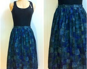 Vintage High waisted Spring Flare Skirt, 1960s A Line with Abstract Floral Print skirt -- Large