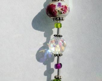 Swarovski AB Heart Crystal Suncatcher: Purple Flowers