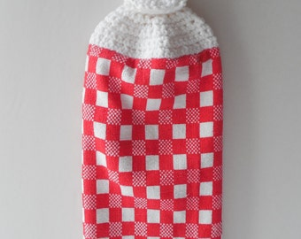 Hanging Kitchen Towel -  Crochet Top - Red with White Plaid - Handmade Crochet - Dish Towel - Tea Towel - Made to Order