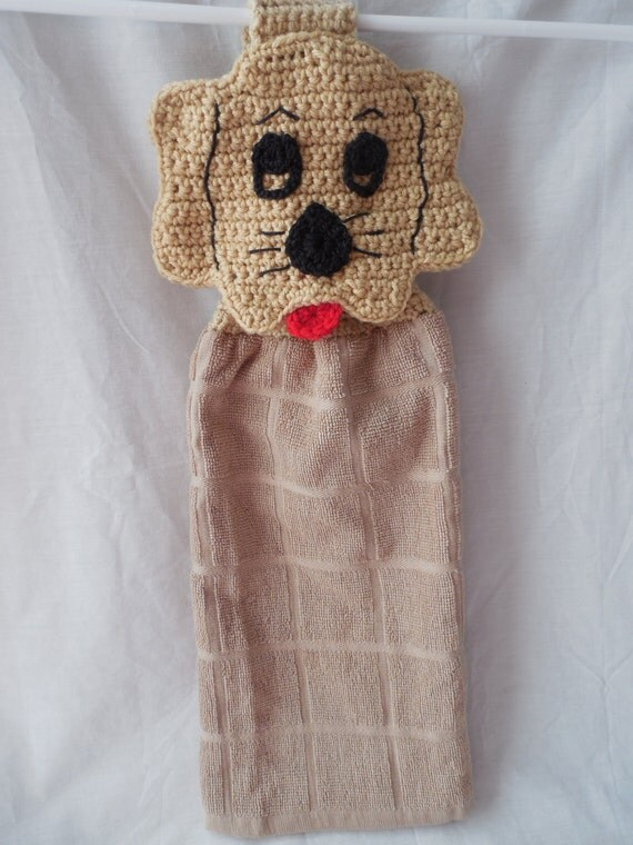 Crochet Hanging Towel Topper Puppy Dog Tan