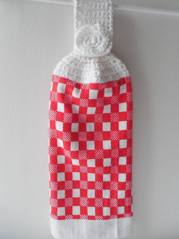 Crochet Kitchen Towel : Hanging Kitchen Towel Crochet Top Red by ShelleysCrochetOle