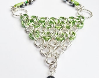 Necklace Green Silver Rings Statement Gift 451