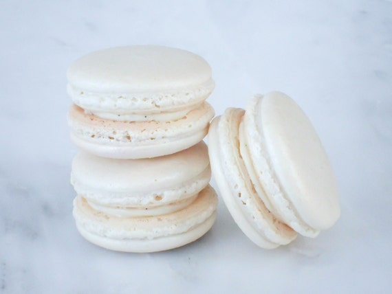 French Macaron Cookies 12 White Shimmer Macaroons Gift