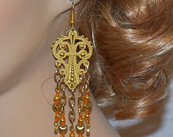 Extra Long Goldtone and Orange Beaded Earrings