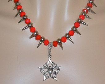 Red Goth Spider and Spike Necklace and Earrings/ Spider Pendant/ Steampunk Spike Necklace/ Red Goth Necklace/ Goth Spider Pendant